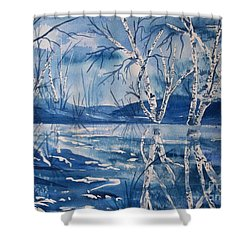 Birches In Blue Shower Curtain by Ellen Levinson