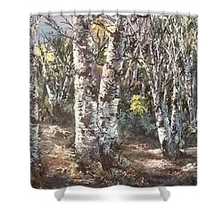 Shower Curtain featuring the painting Birches by Megan Walsh