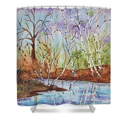 Shower Curtain featuring the painting Birches Reflected In Kaaterskill Creek by Ellen Levinson