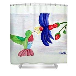 Bird And Flower Shower Curtain