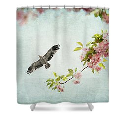 Bird And Pink And Green Flowering Branch On Blue Shower Curtain by Brooke T Ryan