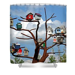 Bird House Village Shower Curtain