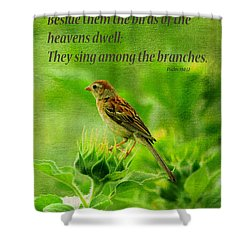 Bird In A Sunflower Field Scripture Shower Curtain