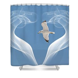 Shower Curtain featuring the photograph Bird In Flight by Athala Carole Bruckner