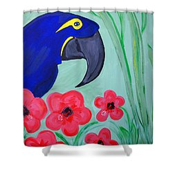 Shower Curtain featuring the painting Bird In Paradise   by Nora Shepley