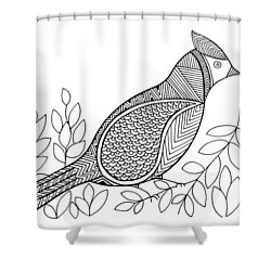 Bird North Cardinal Shower Curtain by Neeti Goswami