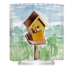 Birdhouse And Bird Of Wood Shower Curtain by Julie Maas