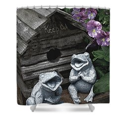 Birdhouse With Frogs Shower Curtain by Bonnie Willis
