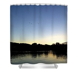 Birds And Blues Shower Curtain