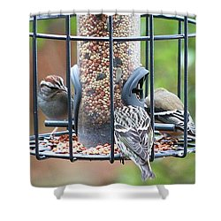 Birds At Lunch Shower Curtain by Ellen O'Reilly
