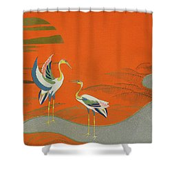 Birds At Sunset On The Lake Shower Curtain by Kamisaka Sekka