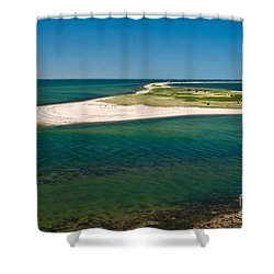 Birds Eye View Cape Poge Elbow Chappaquiddick Island Marthas Vineyard Shower Curtain by Michelle Wiarda