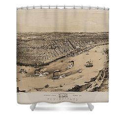 Birds Eye View Of New Orleans 1852 Shower Curtain by Bill Cannon