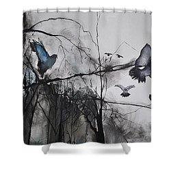 Birds Shower Curtain by Maja Sokolowska