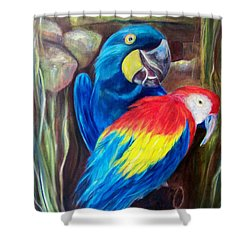 Bird's Of A Feather, Macaws Shower Curtain