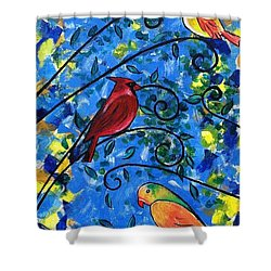 Birds Of Color Shower Curtain