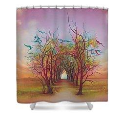 Birds Of Rainbow Mist Shower Curtain by Anna Ewa Miarczynska