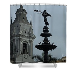 Birds On Fountain Shower Curtain