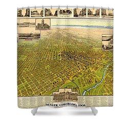 Birdseye Map Of Denver Colorado - 1908 Shower Curtain by Eric Glaser