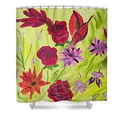 Shower Curtain featuring the painting Birthday Bouquet Of Wishes by Meryl Goudey