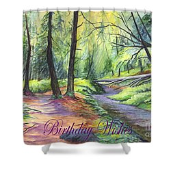 Birthday Wishes-a Woodland Path Shower Curtain by Carol Wisniewski