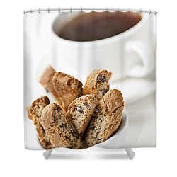 Biscotti And Coffee Shower Curtain by Elena Elisseeva