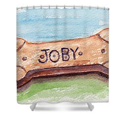 Biscuit For Your Dog Shower Curtain by Julie Maas
