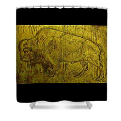 Shower Curtain featuring the drawing Golden  Buffalo by Larry Campbell