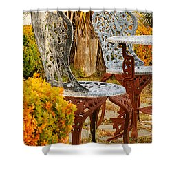 Bistro Table-color Shower Curtain