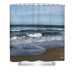 Shower Curtain featuring the photograph Winter Beach  by Eunice Miller