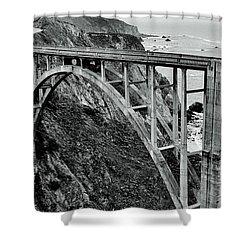 Bixby Creek Bridge Black And White Shower Curtain by Benjamin Yeager