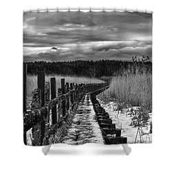 Shower Curtain featuring the photograph black and White Danger 2 bordway cover with slippery ice by Leif Sohlman