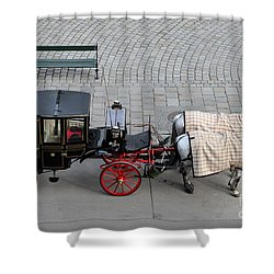 Black And Red Horse Carriage - Vienna Austria  Shower Curtain by Imran Ahmed