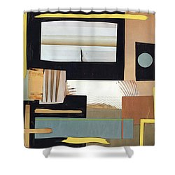 Shower Curtain featuring the mixed media Black And Tan by Mary Bedy