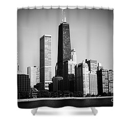 Black And White Chicago Skyline With Hancock Building Shower Curtain by Paul Velgos