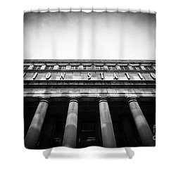 Black And White Chicago Union Station Shower Curtain by Paul Velgos
