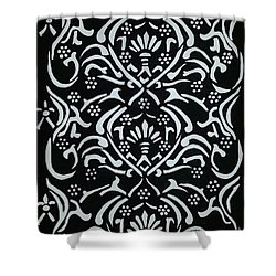 Black And White Classic Damask Shower Curtain by Debra Acevedo