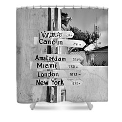 Black And White Directional Sign Shower Curtain