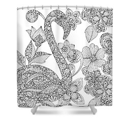 Black And White Flamingo Shower Curtain by Valentina Harper