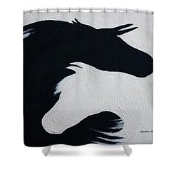 Black And White Horses Together Forever Shower Curtain