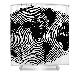 Superior Black And White Ink Print Poster One Of A Kind Global Fingerprint Shower  Curtain