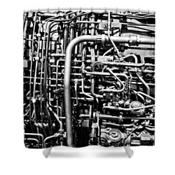 Black And White Jet Engine Shower Curtain by Dan Sproul