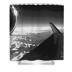 Shower Curtain featuring the photograph Jet Pop Art Plane Black And White  by R Muirhead Art