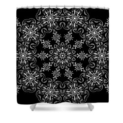 Black And White Medallion 11 Shower Curtain by Angelina Vick
