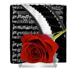 Black And White Music Collage Shower Curtain by Phyllis Denton