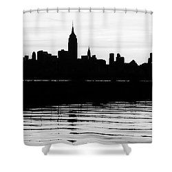 Shower Curtain featuring the photograph Black And White Nyc Morning Reflections by Lilliana Mendez