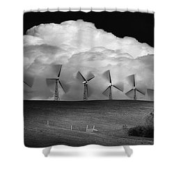 Black And White Of Wind Generators With Shower Curtain by Don Hammond