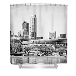 Black And White Picture Of Chicago Skyline Shower Curtain by Paul Velgos