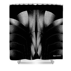 Shower Curtain featuring the mixed media Black And White by Rafael Salazar