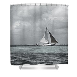 Black And White Sail Boat Shower Curtain by Kristina Deane